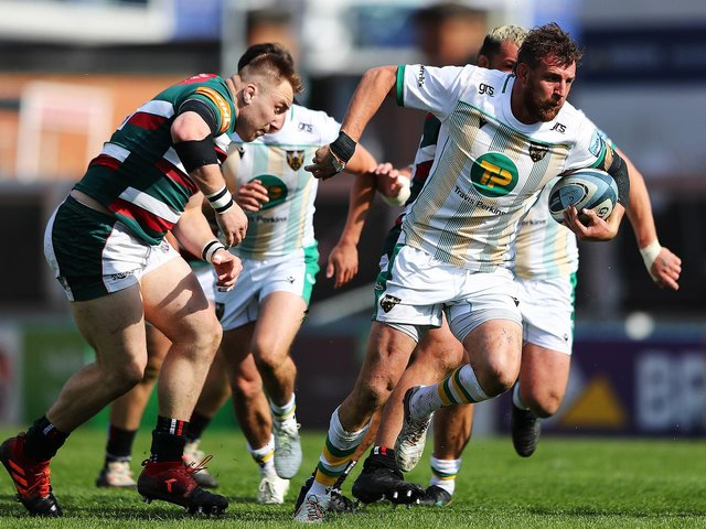 Tom Wood on the charge at Welford Road