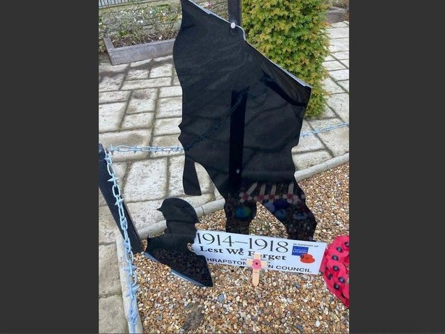 The damage caused to the memorial last year. Credit: Thrapston Town Council