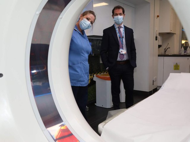 l-r Arlene Lowe (clinical imaging assistant) and Dr George Tsaknis (clinical programme director KGH)