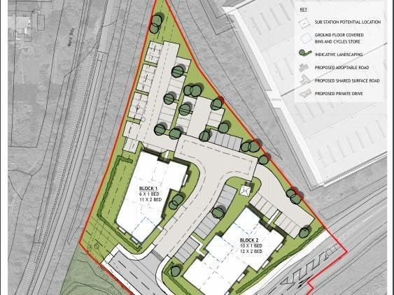 The proposals for up to 39 flats at land just off John Clark Way in Rushden