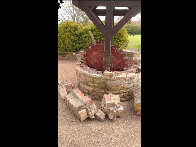 The damaged wishing well  - photo courtesy of Corby Phoenix Rotary Club