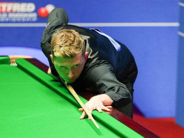 Kyren Wilson is all-square at 8-8 with Neil Robertson in their quarter-final at the Crucible. Picture courtesy of World Snooker Tour