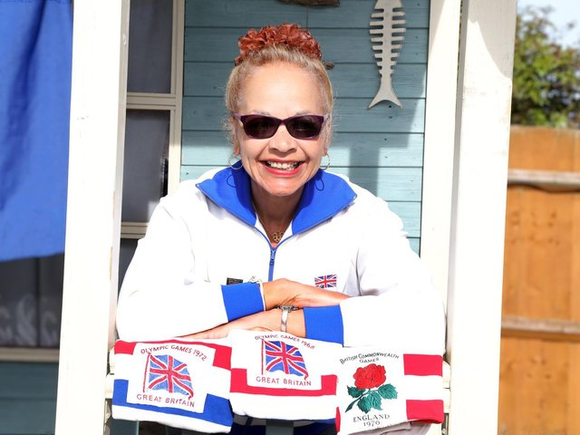Anita Neil with some of her official GB and England running kits
