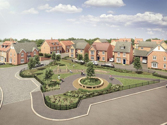 A computer-generated image of Davidsons Homes' Sanders Fields development in Rushden