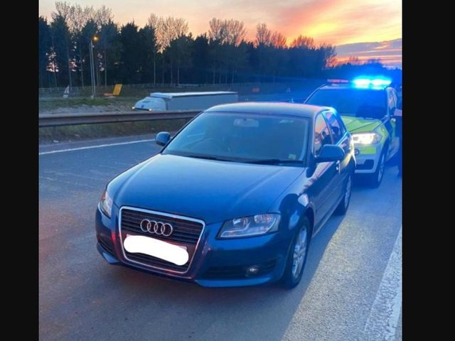 Police stopped this car on the M1 because it was suspected to be linked to organised crime.