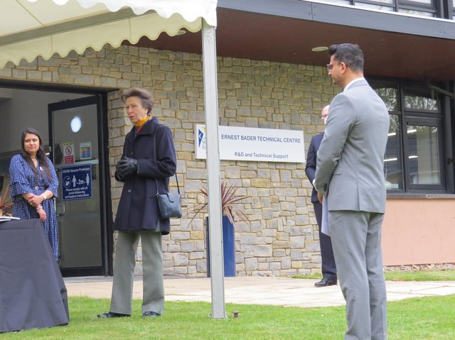 The Princess Royal in conversation outside the Ernest Bader Technical Centre