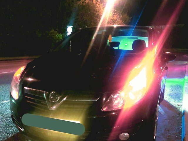 Police stopped the Vauxhall Corsa in Weedon Road, Northampton, at around 11pm on Wednesday. Photo:Northants_RCT