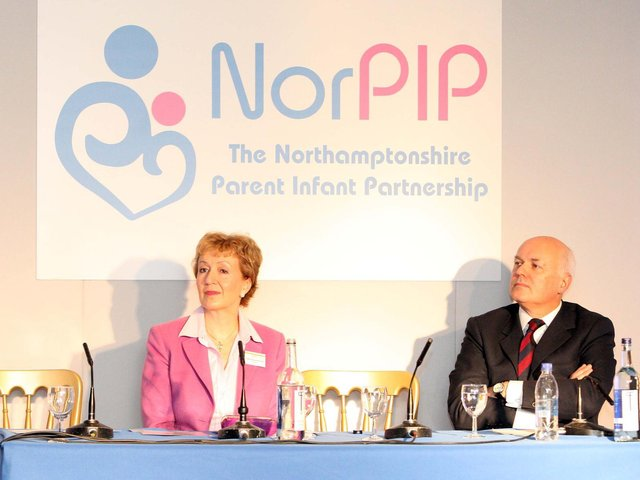 Andrea Leadsom speaking about NorPIP with Iain Duncan Smith in 2012. (File picture).