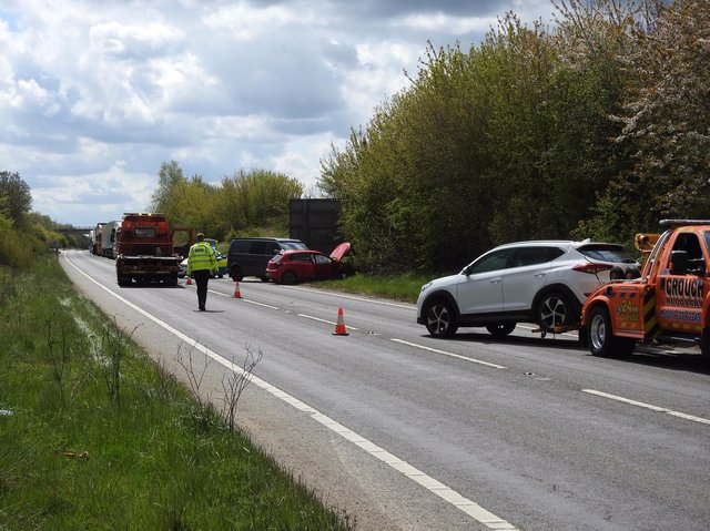 Emergency services at the scene of the crash. Picture: Andrew Carpenter