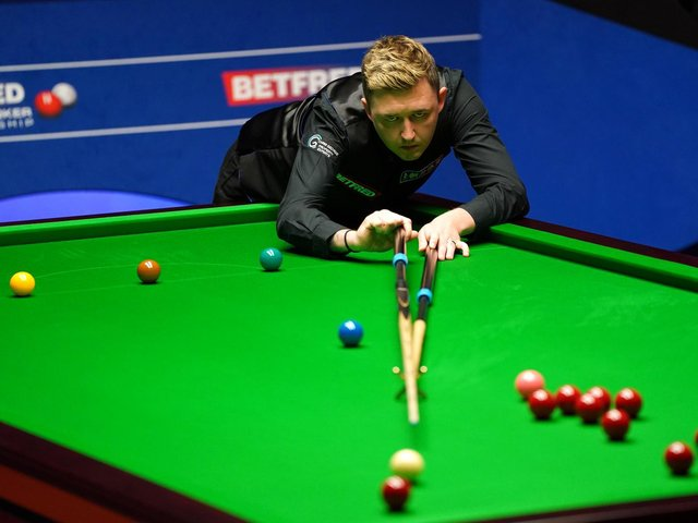 Kyren Wilson in action during yesterday's session of his World semi-final against Shaun Murphy. Picture courtesy of Getty Images