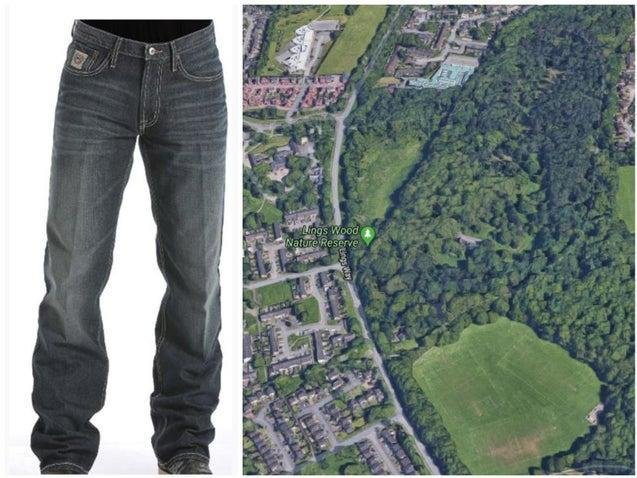 A par of Russian jeans is one of the few clues to identifying a body found in Lings Wood on May 4 last year