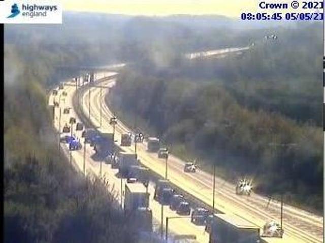Highways England jamcams showed traffic crawling with one lane blocked near Rothwell