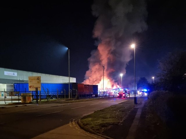 The fire in Brackmills Industrial Estate on Saturday (May 1).