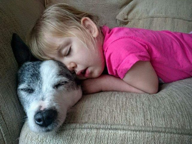 Kaycee with her old pet dog Mac