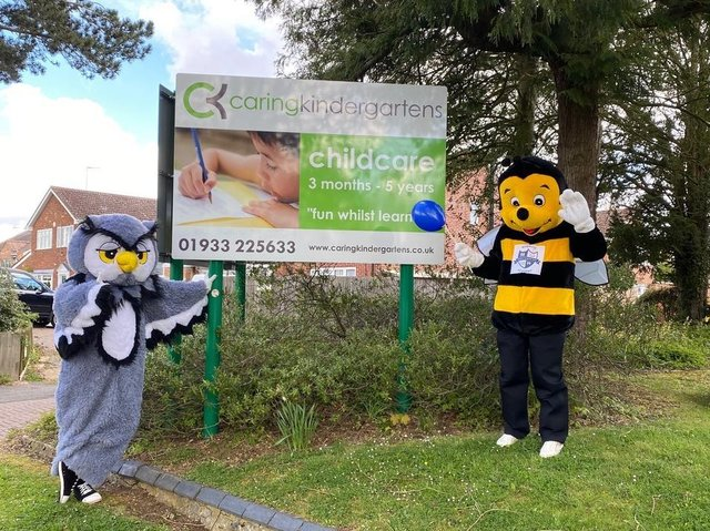 The mascots out and about in Wellingborough