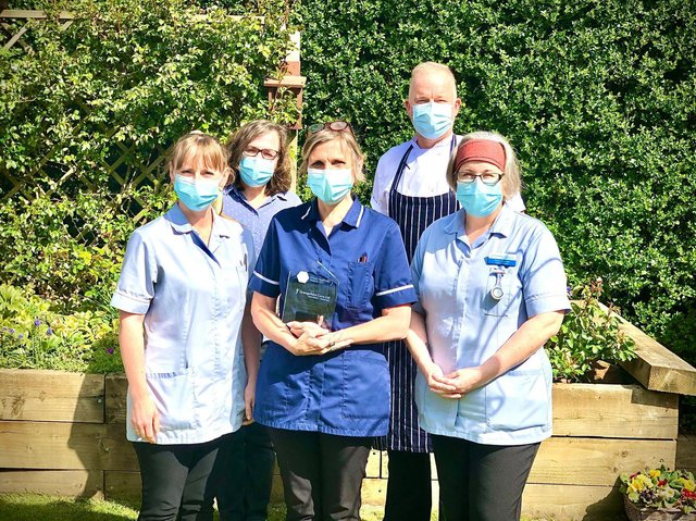 Some of the staff at Grangefield with the Private Healthcare Award.
