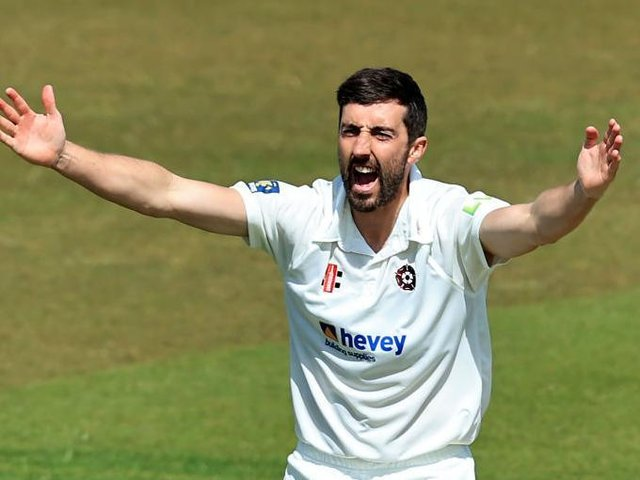 Ben Sanderson celebrates one of his five wickets