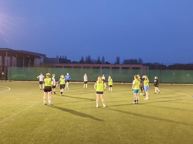 AFC Rushden & Diamonds Women & Girls' senior team pictured during their first training session back after the last lockdown
