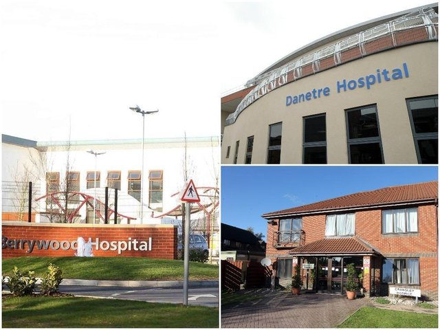 Northamptonshire Healthcare NHS Foundation Trust is easing visitor restrictions at its bases including the mental health inpatient unit Berrywood Hospital in Northampton (left), Danetre Hospital in Daventry (top right) and Cransley Hospice