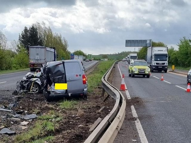 One lane is likely to remain closed in both directions for some hours on the A14