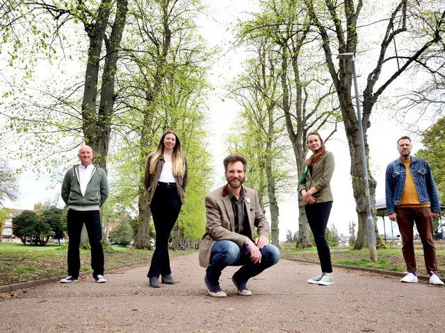 Kettering Green Party councillors l-r l-r James Towns, Sarah Tubbs, Dez Dell, Emily Fedorwycz, Keiron Farrow