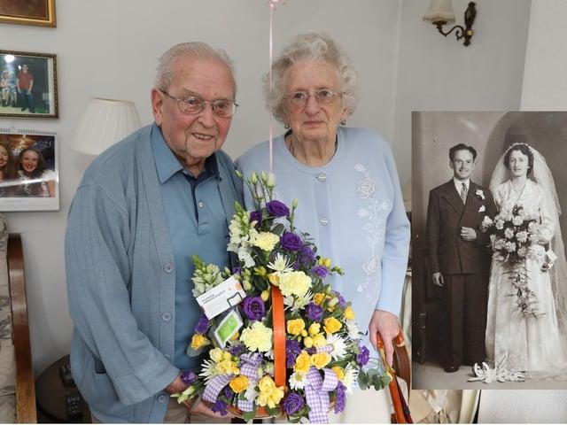 John and Elsie on their 70th wedding anniversary inset their original wedding photo