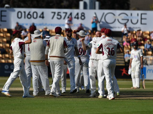 Norhants celebrate a wicket in their win over Durham in September, 2019 - the last time spectators were allowed inside the County Ground (Picture: Dave Ikin)