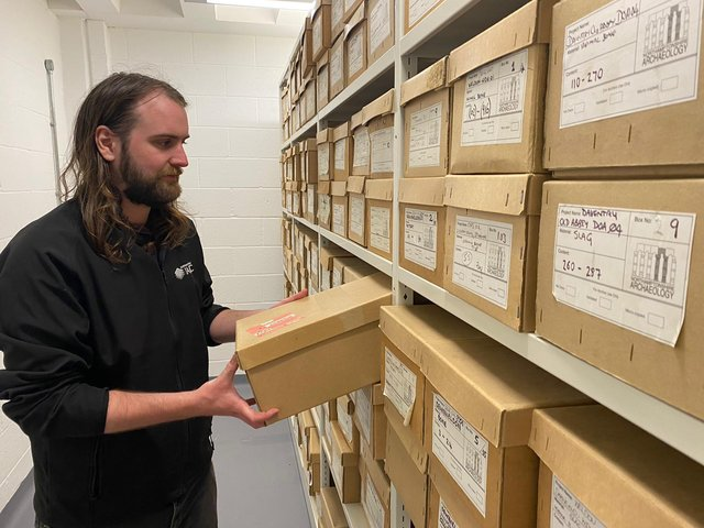 Shelves in the ARC are being filled by boxes of finds
