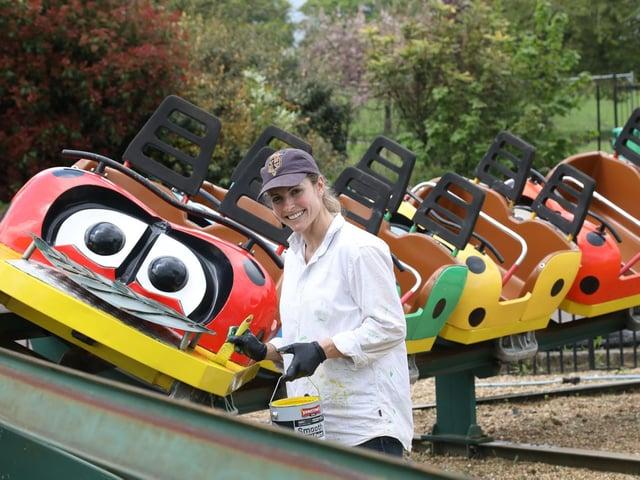Rachael Harris paints the Ladybird rollercoaster