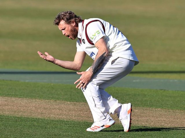 Gareth Berg celebrates a wicket in the win over Glamorgan at the County Ground last month