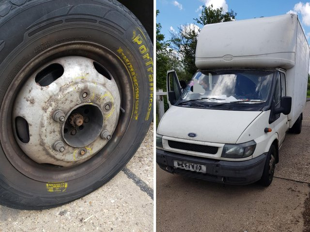 Police spotted this van on the M1 with a wheel held on by only three nuts instead of six.