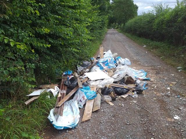 The dumped waste near Little Harrowden