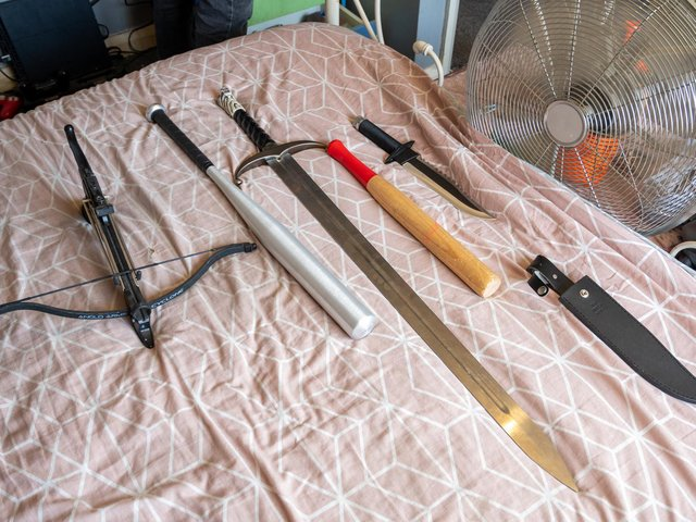 Some of the weapons found during today's police raids