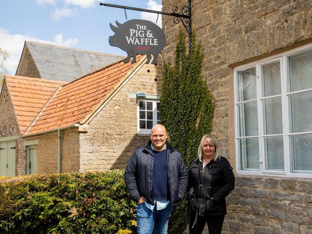 Greedy Gordons Group co-owners Richard Gordon and Sonya Harvey outside The Pig & Waffle in Grafton Underwood, which they are opening in early June