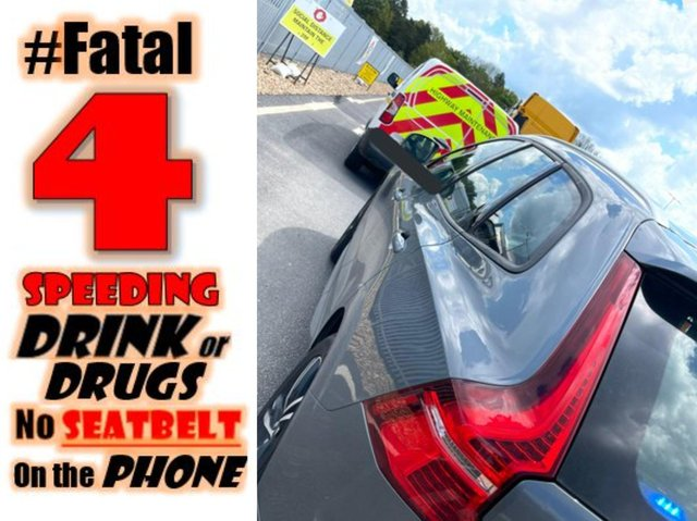 Officers spotted the driver using a mobile — one of the 'fatal four' traffic offences