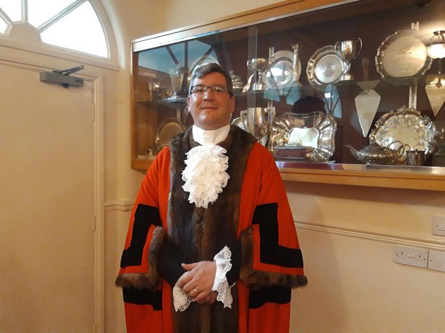 Cllr Scott Edwards in the mayor's parlour after being elected last night.