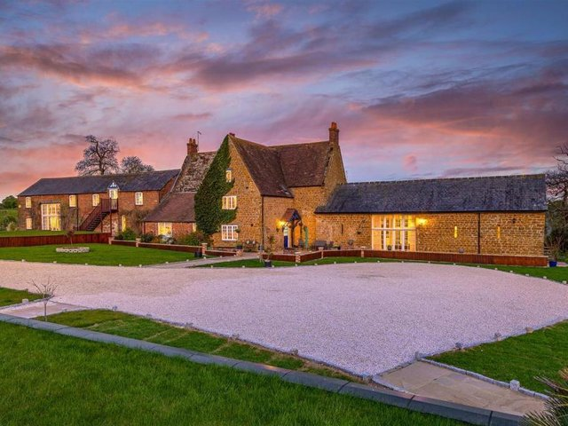 West Lodge converted farmhouse in Ecton is on the market for offers over 2million.  Listed by Fine & Country, marketed by Rightmove.