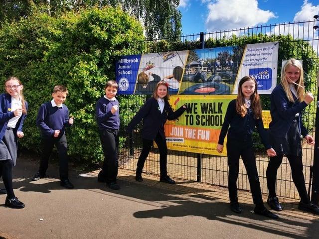 Children at Millbrook Junior School took part in 'Walk to School Week'