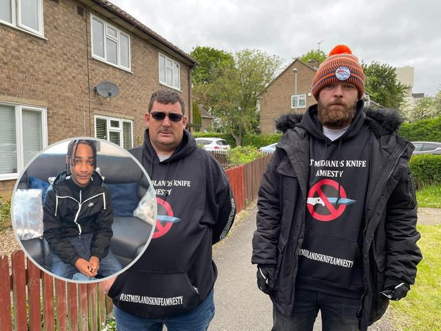 Jay and Jack run the knife amnesty in Corby. Inset: Rayon Pennycook, who was tragically killed on Tuesday.