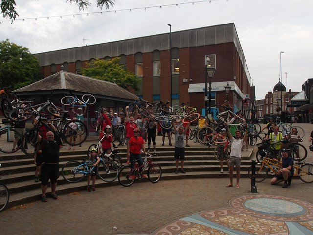 Cyclists at Wellingborough's first Critical Mass last year