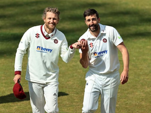 Gareth Berg (left) and Ben Sanderson claimed 19 wickets between them in the County's win over Sussex at Wantage Road three weeks ago