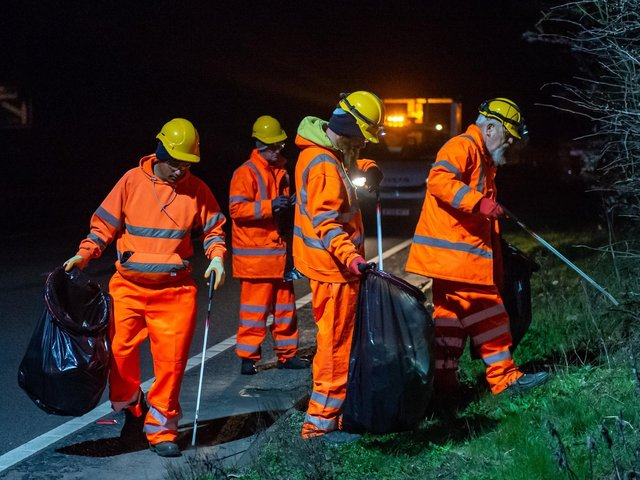 Workers on the A14