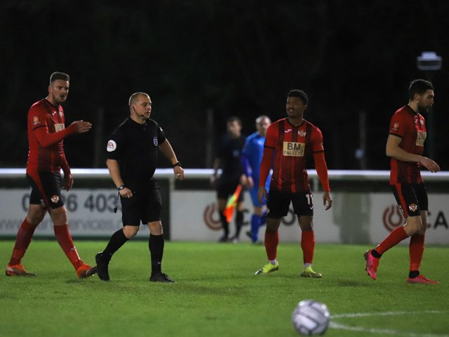 One of the big charges levelled at Michael McGrath related to an incident during Kettering Town's 3-0 defeat to Leamington in the FA Trophy in January. Picture by Peter Short