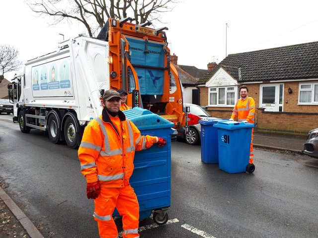 Some of the refuse and recycling team for Kettering and Corby who have been shortlisted for a national award