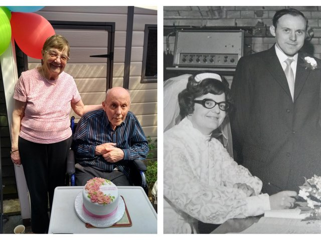 Judith and Norman pictured on their 50th anniversary and on their wedding day.