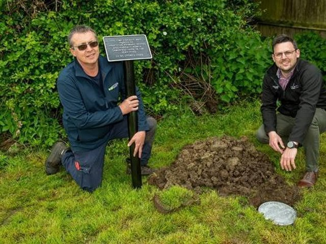 Simon Odell from Mintridge (left) and Luke Shepperson (right) with the time capsule at Charter's Gate