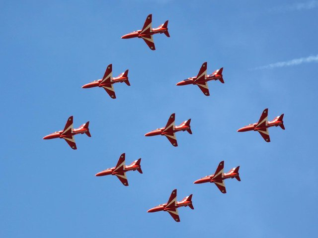 Red Arrows will fly over Northamptonshire tomorrow (June 4). Photo: @MilitaryAirshow