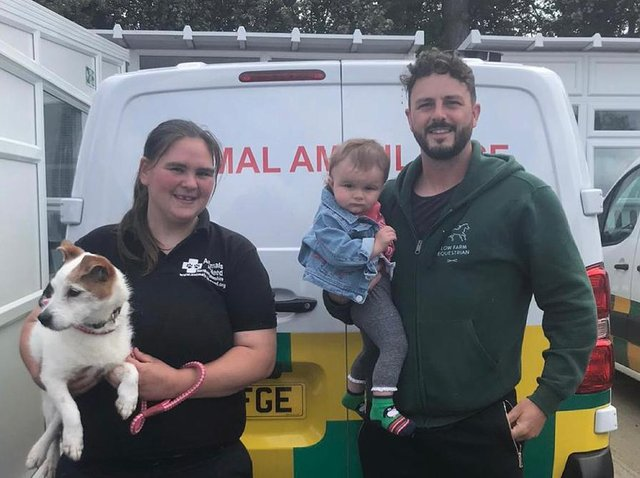 Emma from Animals In Need with Cody who needs a home and Jason with his little daughter