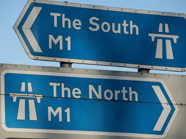 Lane three is blocked by a crash on the M1 near Northampton