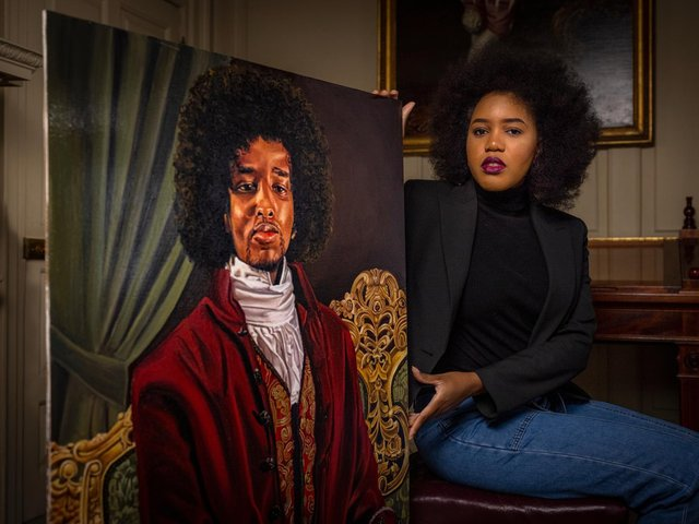 Glory Samjolly with her portrait of James Chappell.